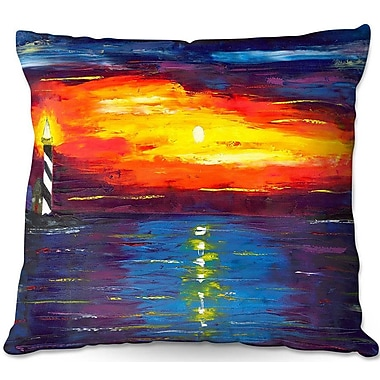 East Urban Home Sunset at Lighthouse Throw Pillow; 22'' H x 22'' W x 5'' D