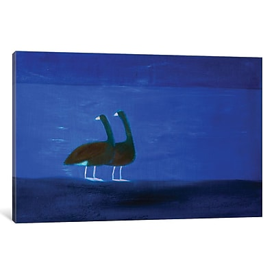 East Urban Home 'Two Geese' Painting Print on Wrapped Canvas; 26'' H x 40'' W x 0.75'' D