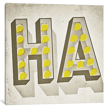 East Urban Home 'HA' Textual Art on Wrapped Canvas; 12'' H x 12'' W x 0.75'' D