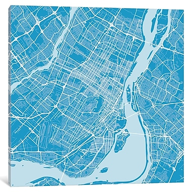 East Urban Home 'Montreal Roadway' Graphic Art on Wrapped Canvas in Blue; 37'' H x 37'' W x 1.5'' D