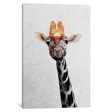 East Urban Home 'Giraffe II' Photographic Print on Wrapped Canvas; 26'' H x 18'' W x 0.75'' D