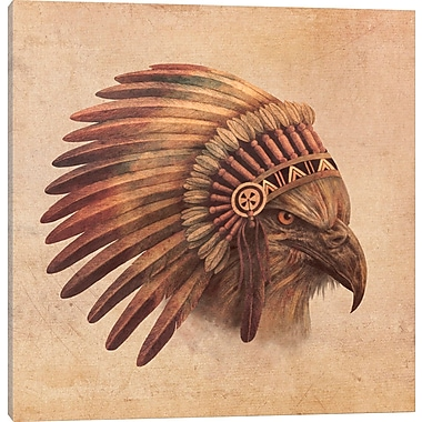 East Urban Home 'Eagle Chief #2' Graphic Art on Wrapped Canvas; 37'' H x 37'' W x 1.5'' D