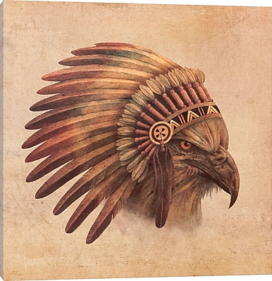 East Urban Home 'Eagle Chief #2' Graphic Art on Wrapped Canvas; 18'' H x 18'' W x 0.75'' D