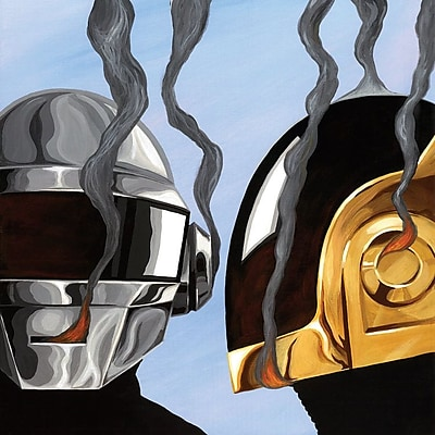 East Urban Home 'Daft Punk' Graphic Art on Wrapped Canvas; 18'' H x 18'' W x 1.5'' D