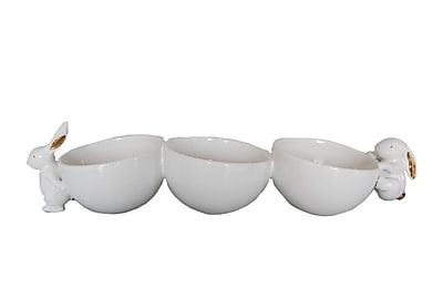 August Grove Dolomite Three Decorative Bowls w/ Rabbit
