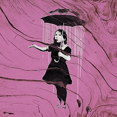 East Urban Home 'Nola Girl w/ Umbrella' Graphic Art on Wrapped Canvas in Purple