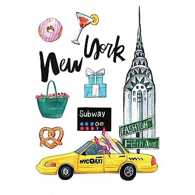 East Urban Home 'New York' Graphic Art on Wrapped Canvas; 26'' H x 18'' W x 1.5'' D