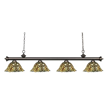 Fleur De Lis Living Bristoly Bell Shade 4-Light Kitchen Island Pendant; Olde Bronze