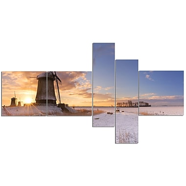 East Urban Home 'Dutch Windmills at Sunrise' Photographic Print Multi-Piece Image on Canvas