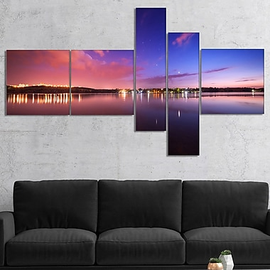 East Urban Home 'Night Sky Reflection in River' Photographic Print Multi-Piece Image on Canvas