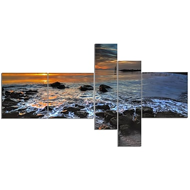 East Urban Home 'Sunset Over Rocky Ocean Shore' Photographic Print Multi-Piece Image on Canvas