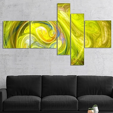 East Urban Home 'Yellow Fractal Abstract Illustration' Graphic Art Print Multi-Piece Image on Canvas