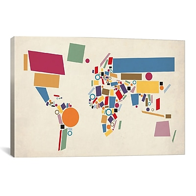 East Urban Home 'Abstract World Map' Framed Graphic Art; 8'' H x 12'' W x 0.75'' D