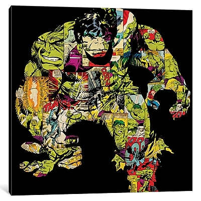 iCanvas 'Retro Hulk Comic' Graphic Art on Wrapped Canvas; 18'' H x 18'' W x 1.5'' D