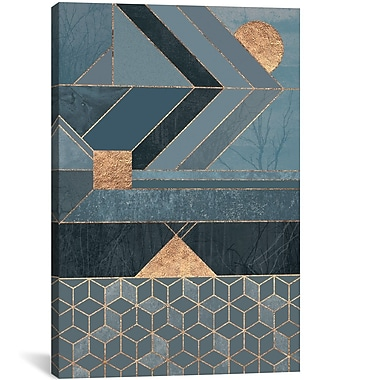 East Urban Home 'Nordic' Graphic Art on Wrapped Canvas in Blue; 26'' H x 18'' W x 1.5'' D