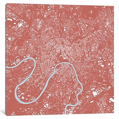 East Urban Home 'Moscow' Graphic Art on Wrapped Canvas in Pink; 18'' H x 18'' W x 0.75'' D
