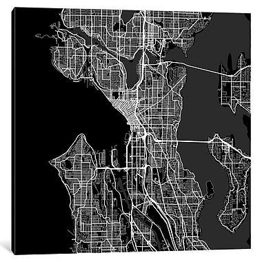 East Urban Home 'Seattle Roadway' Graphic Art on Wrapped Canvas in Black; 26'' H x 26'' W x 1.5'' D