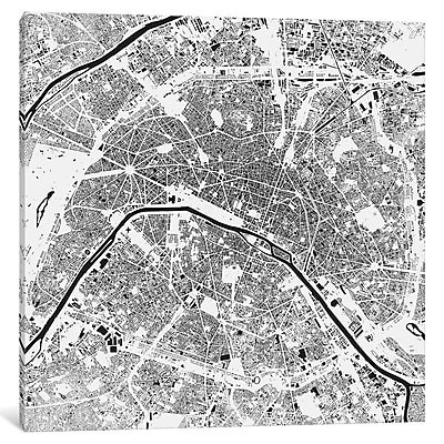 East Urban Home 'Paris' Square Graphic Art on Wrapped Canvas in Black; 12'' H x 12'' W x 1.5'' D