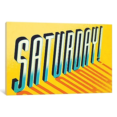 East Urban Home 'Saturday!' Textual Art on Wrapped Canvas; 12'' H x 18'' W x 0.75'' D