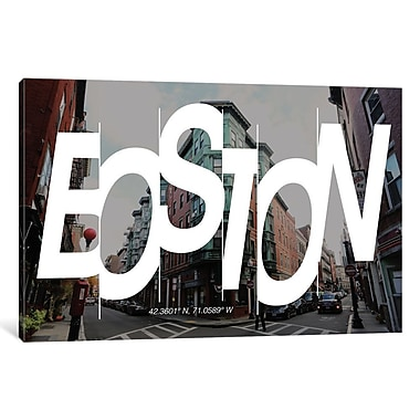 East Urban Home 'Boston (42.3 N, 71 W)' Graphic Art on Wrapped Canvas; 12'' H x 18'' W x 1.5'' D
