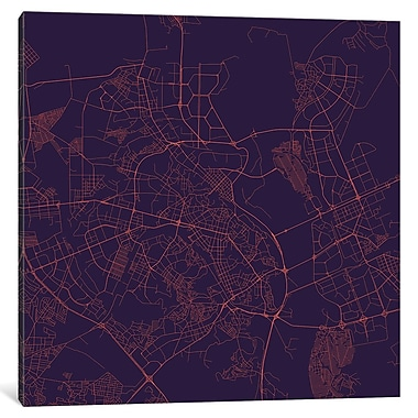 East Urban Home 'Kiev Roadway' Graphic Art on Wrapped Canvas in Purple Night
