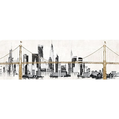 East Urban Home 'Bridge and Skyline' Painting Print on Wrapped Canvas; 16'' H x 48'' W x 1.5'' D