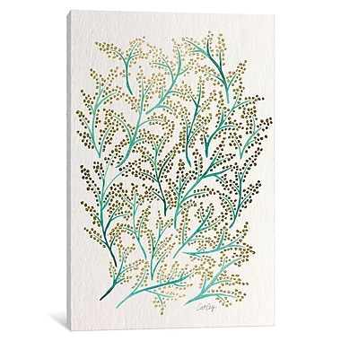 East Urban Home 'Green Gold Branches' Graphic Art on Wrapped Canvas; 40'' H x 26'' W x 0.75'' D