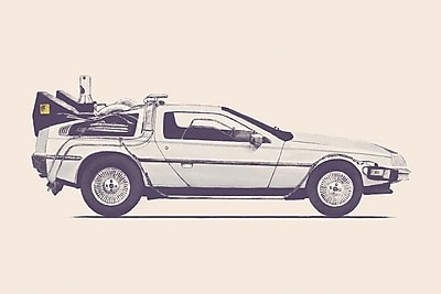 East Urban Home 'DeLorean - Back To The Future' Graphic Art on Wrapped Canvas