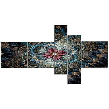 East Urban Home 'Dark Purple Fractal Flower' Graphic Art Print Multi-Piece Image on Canvas