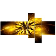 East Urban Home 'Shiny Gold Fractal Flower on Black' Graphic Art Print Multi-Piece Image on Canvas