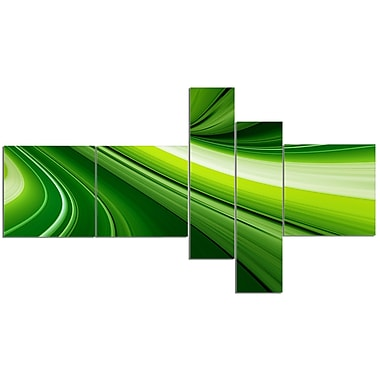 East Urban Home 'Abstract Green Lines Background' Graphic Art Print Multi-Piece Image on Canvas