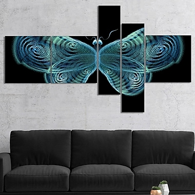 East Urban Home 'Light Blue Fractal Butterfly in Dark' Graphic Art Print Multi-Piece Image on Canvas