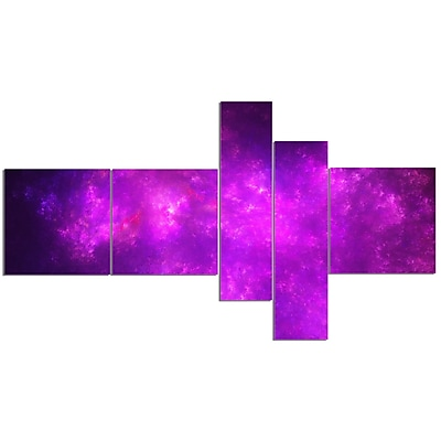 East Urban Home 'Purple Starry Fractal Sky' Graphic Art Print Multi-Piece Image on Canvas