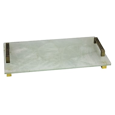 Everly Quinn 13'' Stone and Metal Handled Tray