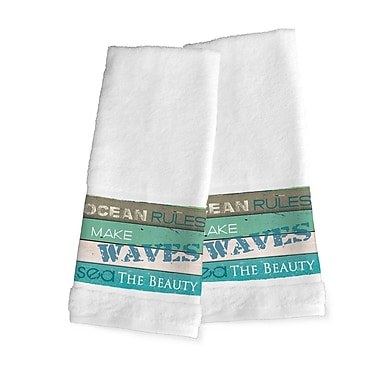 Highland Dunes Ocean Rules Hand Towel (Set of 2)