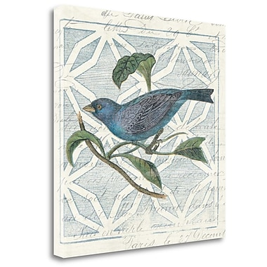 Tangletown Fine Art 'Monument Etching Tile II Blue Bird' Print on Canvas; 24'' H x 24'' W