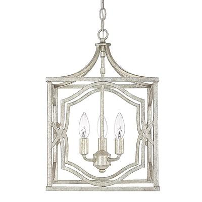 Willa Arlo Interiors Destrey Traditional 3-Light Metal Foyer Pendant; Antique Silver