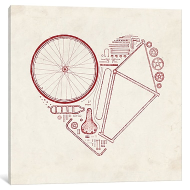East Urban Home 'Love Bike in Red' Painting Print on Wrapped Canvas; 12'' H x 12'' W x 0.75'' D
