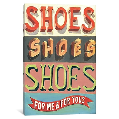 East Urban Home 'Shoes! Shoes! Shoes!' Vertical Textual Art on Wrapped Canvas