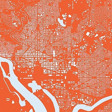 East Urban Home 'Washington D.C.' Graphic Art on Wrapped Canvas In Red; 18'' H x 18'' W x 0.75'' D