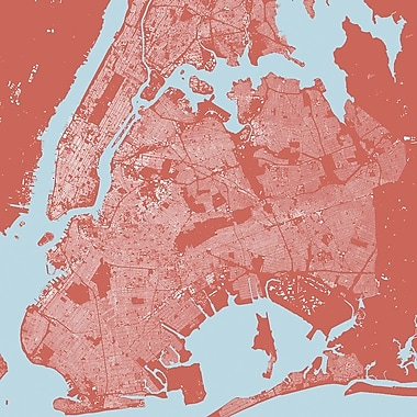 East Urban Home 'New York City' Graphic Art on Wrapped Canvas in Pink; 26'' H x 26'' W x 0.75'' D