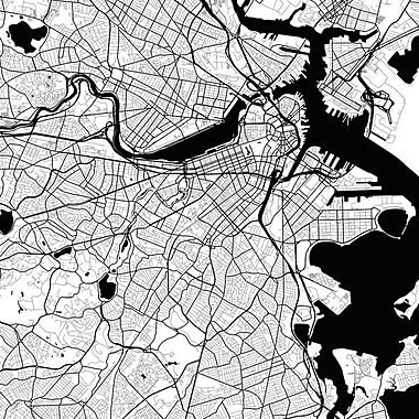 East Urban Home 'Boston Urban Roadway Map' Graphic Art on Wrapped Canvas; 37'' H x 37'' W x 1.5'' D