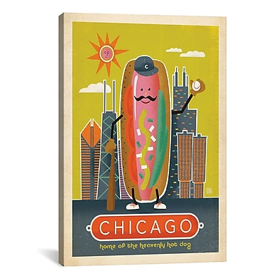 East Urban Home 'Chicago-Style Hot Dog' Vintage Advertisement on Wrapped Canvas