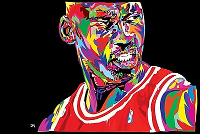 East Urban Home 'Jordan Portrait' Graphic Art on Wrapped Canvas; 26'' H x 40'' W x 0.75'' D