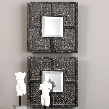Bungalow Rose 2 Piece Contemporary Square Accent Mirror Set (Set of 2)