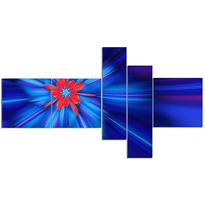East Urban Home 'Rotating Fractal Blue Fireworks' Graphic Art Print Multi-Piece Image on Canvas