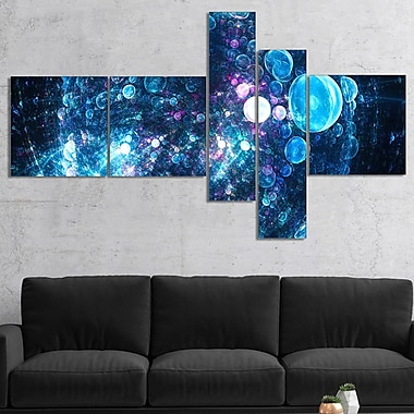 East Urban Home 'Blue Spherical Planet Bubbles' Graphic Art Print Multi-Piece Image on Canvas