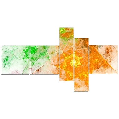 East Urban Home 'Green Yellow Rotating Polyhedron' Graphic Art Print Multi-Piece Image on Canvas