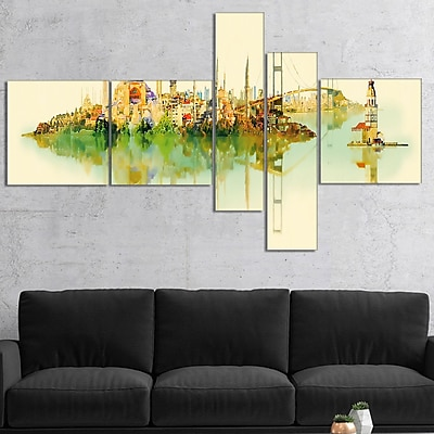 East Urban Home 'Istanbul Panoramic View' Watercolor Painting Print Multi-Piece Image on Canvas