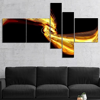 East Urban Home 'Glowing Golden Lines and Circles' Graphic Art Print Multi-Piece Image on Canvas